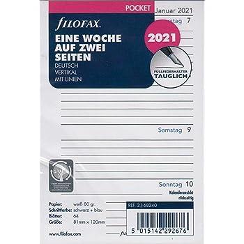 Filofax 2021 Kalender Pocket A7 Kalendarium 1Woche 2Seiten Professional Wochenbl/ätter 21-68275