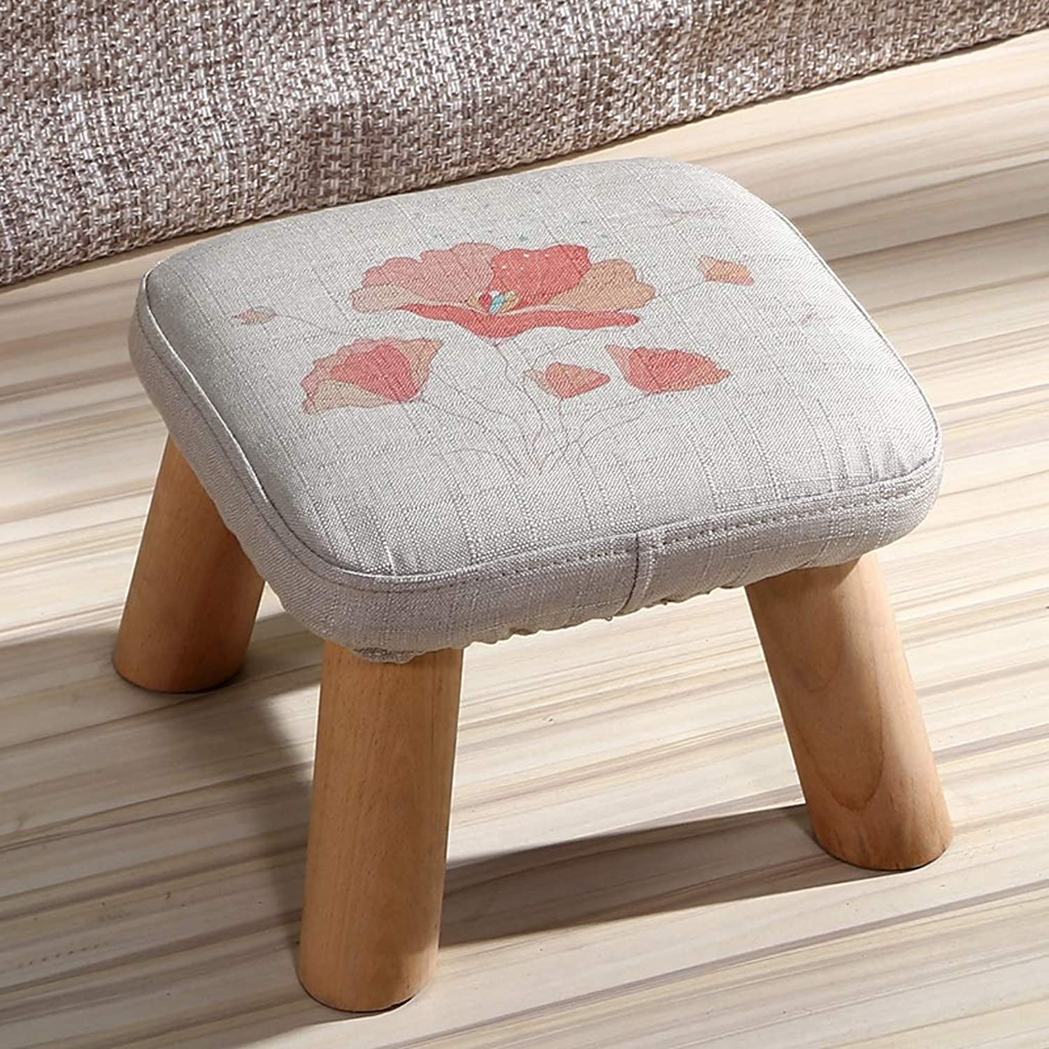 HLJ Fashion Cloth Small Bench Creative Solid Wood Stool Personality Cute Change shoes Bench