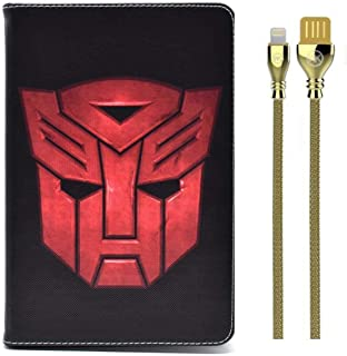 """Apple 1/2 9.7"""" Cases + Cable Combo Transformers Case Cover + Supreme DC WDC-028 - Silver"""