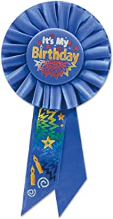 Beistle It's My Birthday Rosette Party Item, 3-1/4-Inch by 6-1/2-Inch, Blue