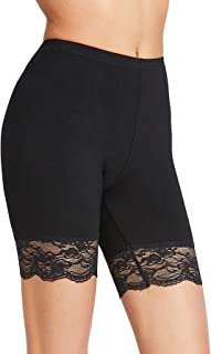 Women's Sexy Lace Trim Slip Shorts Yoga Bike Active Short Leggings