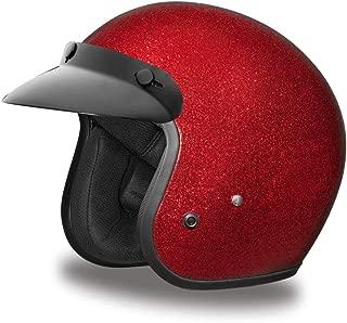 Daytona Helmets Motorcycle Open Face Helmet Cruiser- Red Metal Flake 100% DOT Approved