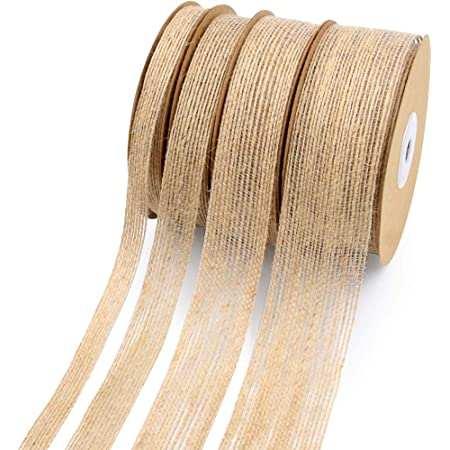5 Rolls Natural Burlap Ribbon for Craft Wreath Multi Sizes Home Decor Bow 0.6, 0.8, 1, 1.2, 1.5inch Gartful 50 Yards Burlap Fabric Ribbon for Making Art Project Christmas