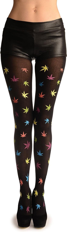 Rainbow Printed Leaves - Pantyhose (Tights)