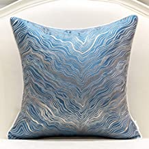 Avigers 20 x 20 Inch Square Navy Blue Silver Gold Abstract Striped Embroidery Cushion Case Luxury Modern Throw Pillow Cove...