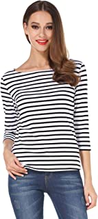Women's 3/4 Sleeve Boat Neck Striped Relax Fit Tee Shirts
