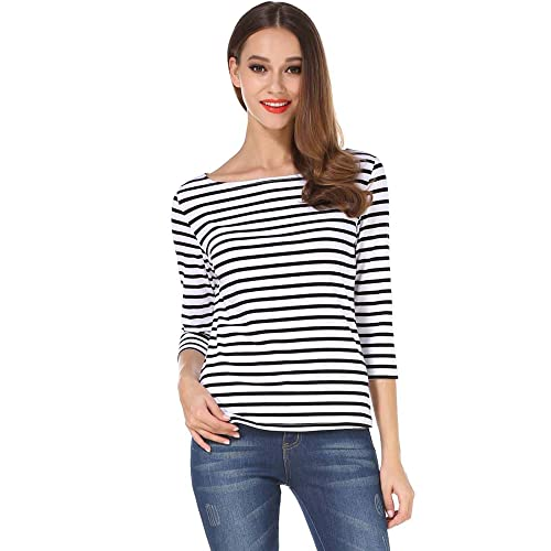 3b66290254 MSBASIC Women's 3/4 Sleeve Boat Neck Striped Relax Fit Tee Shirts