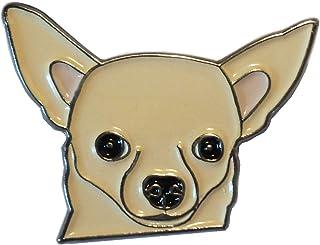 Mercmad Chihuahua Badge en métal émail Couleur Bronze, 26 mm