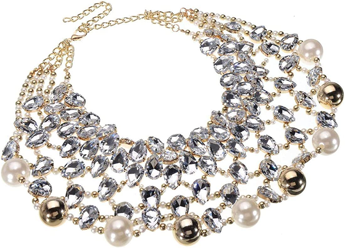 Jerollin Multi-Strand Simulated Pearl/Crystal Chain Choker Collar Necklace Acrylic Resin Bead Ball Cluster Bib Statement Necklace for Women