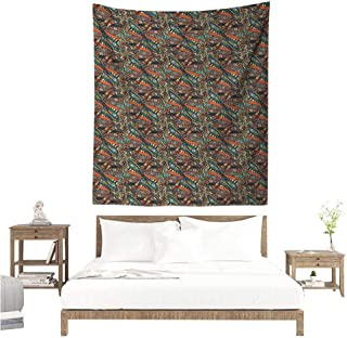 Wall Tapestry Funky Abstract Hand Drawn Style Waves Pattern with Curly Floral Elements and Small Hearts 54W x 72L INCH Suitable for Bedroom Living Room Dormitory