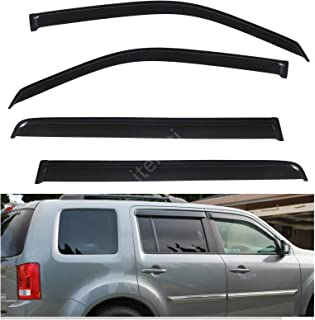 itelleti 4pcs Outside Mount Dark Smoke Sun/Rain Guard Front+Rear Tape-On Auto Window Visors For 09-15 Honda Pilot