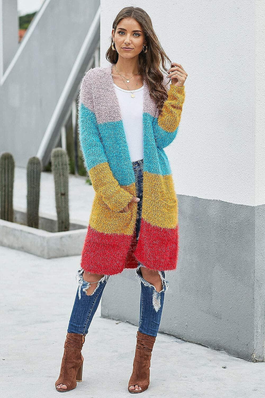 Multicolor Color Block Drape Oversized Knitted Cardigan
