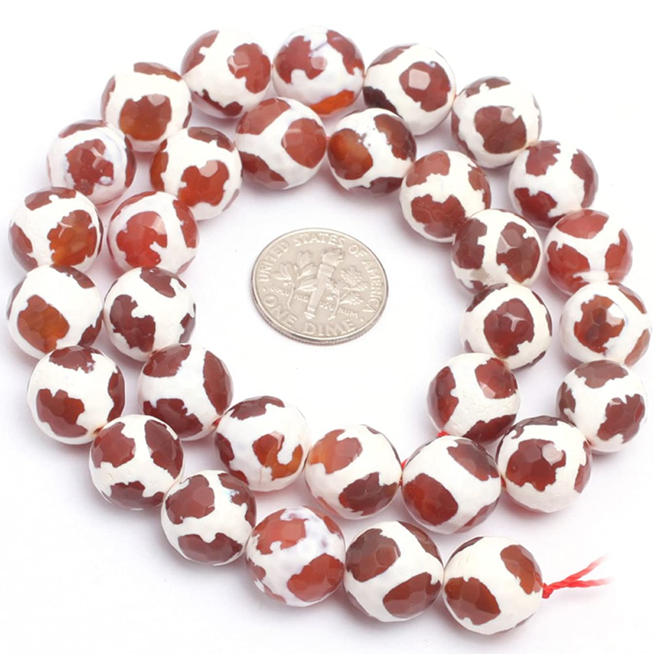 Fire Agate Beads for Jewelry Making Gemstone Semi Precious 12mm Round Faceted Stripe Football Red 15