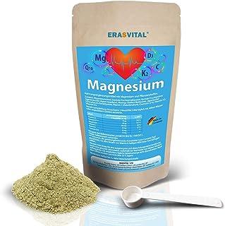 ERASVITAL Magnesium Citrat con vitamina D3/K2. Quercetin y Coenzima Q10. 100 g. en una bolsa reutilizable