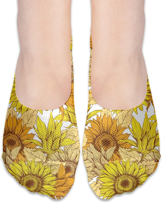 No Show Socks Women Men For Retro Sunflower Floral Print Flats Cotton Ultra Low Cut Liner Socks Non Slip