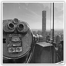 Juego de 2 pegatinas cuadradas de 10 cm BW Rockefeller New York Paisaje divertido calcomanías para portátiles, tabletas, equipaje, reserva de chatarras, neveras, regalo genial #35993