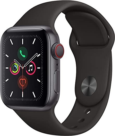 Apple Watch Series 5 (GPS+Cellular, 44mm) - Space Gray Aluminum Case with Black Sport Band