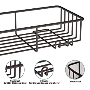 SMARTAKE 2-Pack Shower Caddy, Rustproof Bathroom Shelf Organizer with Hooks, SUS304 Stainless Steel Wall Rack for Dorm, Toilet, Bath and Kitchen, Bronze