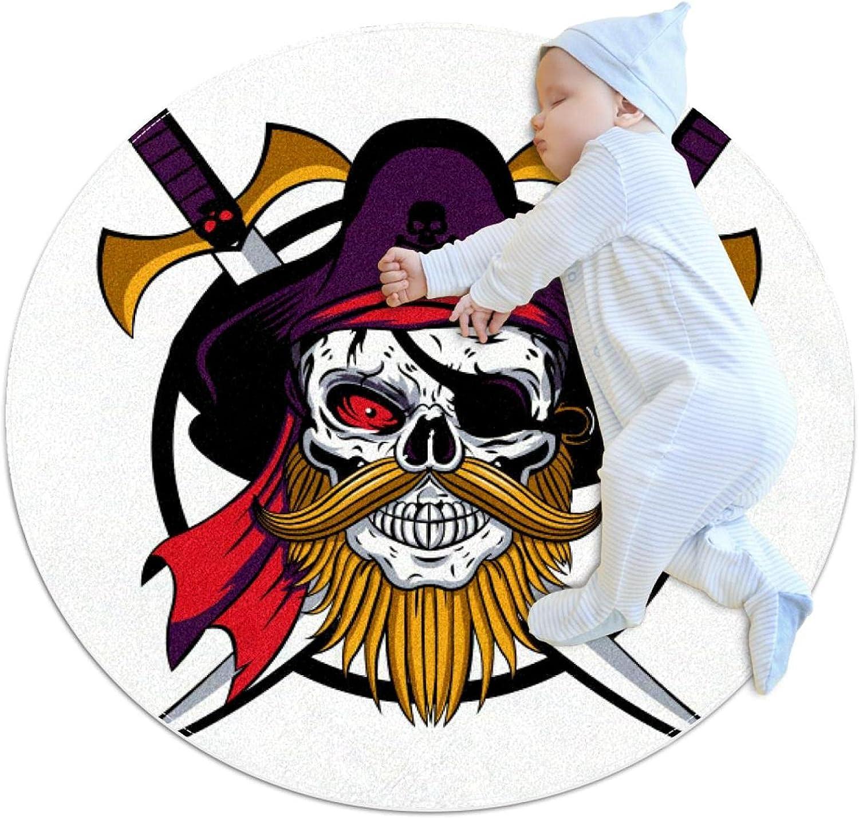 Spasm price Pirate Skull Kids Nursery Rug Play Design Todd Round Ranking TOP1 Carpet Mat