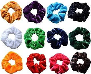 Yexpress 12 Pack Velvet Scrunchies Hair Bobble Elastics Hair Scrunchy Hair Bands Headbands Women Scrunchies Bobbles Hair Ties 3 Diameter, 12 Colors