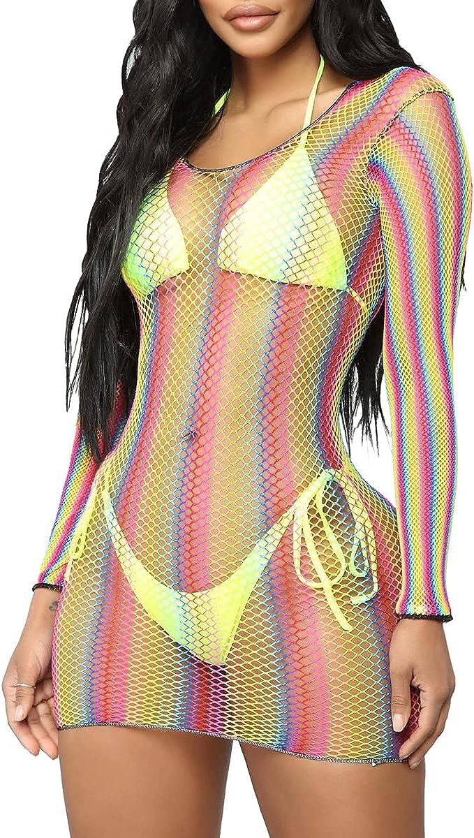 LaiyiVic Sexy Mesh See Through Dresses for Women Long Sleeve Stripe Bodycon Club Dress