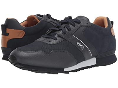 BOSS Hugo Boss Parkour Run Suede Sneakers by BOSS (Dark Blue) Men