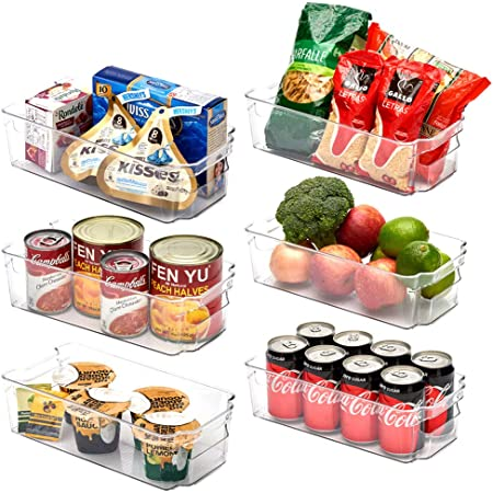 EZOWare Panier de Rangement en Plastique, Grand Bacs de Rangement, pour Frigo, Réfrigérateur, Congélateur, Cuisine, étagères, Salle de Bain-Pack de 6