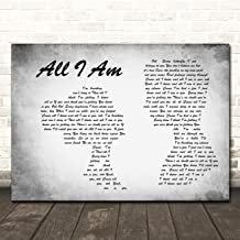 All I Am Man Lady Couple Grey Song Lyric Quote Wall Art Poster Gift Present Print