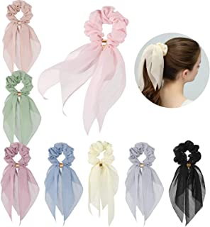 Hair Scarfs for Women Girls, Funtopia 8 Pcs Double Layer Bow Scrunchies for Hair Bunny Ear Scrunchies with Assorted Colors, Elegant Scarf Hair Ties Bowknot Ponytail Holder for Party Travel Daily