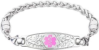 Divoti Custom Engraved Medical Alert Bracelets for Women, Stainless Steel Medical Bracelet, Medical ID Bracelet w/Free Engraving – Beautiful Olive Tag w/Wheat – Color/Size