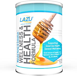Lazu Manuka Honey and Colostrum, Health Wellness Drink Shake Mix, 1.2lb, for intestinal health, IBS, reflux, muscle growth...