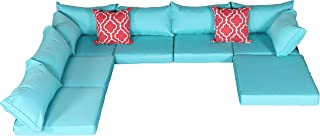 Do4U Patio Furniture Cover Water Resistant Outdoor Furniture Sets Cushion Cover Set with 2 Corner/ 4 Middle/Ottoman Sectionals Back & Seat Cushion (Turquoise-15 Pieces)