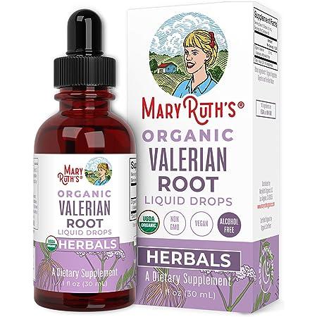 USDA Organic Valerian Root by MaryRuth's   Herbal Liquid Drops   Valeriana Officinalis Herb   Calming, Sleep-Enhancing, Nervine   Non-GMO, Vegan, 1oz