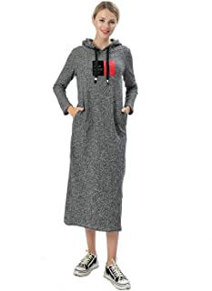 YIYIYOUNI Women's Hooded Long Sweatshirt Dress with Pockets Pullover Hoodies