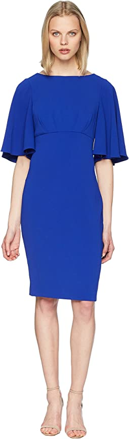 Bell Sleeve Day to Evening Dress in Stretch Crepe