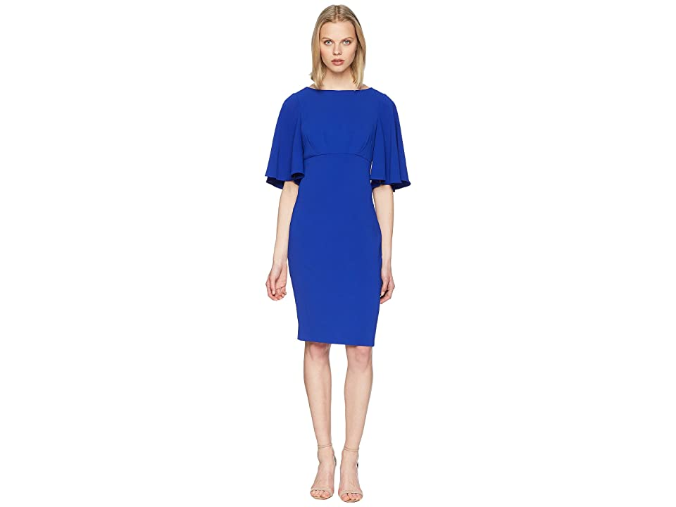 Badgley Mischka Bell Sleeve Day to Evening Dress in Stretch Crepe (Electric Blue) Women