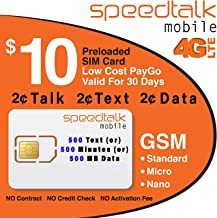 $10 GSM SIM Card Unlimited Text 2 Cents Per Minute 2 Cents Per MB Data 30-Day Wireless Service