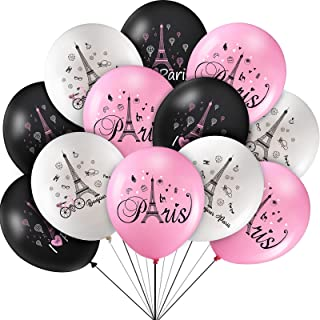 36 Pieces 12 inch Paris Balloons Day in Paris Balloons, Pink Black White Eiffel Tower Party Latex Balloons Paris Theme Val...