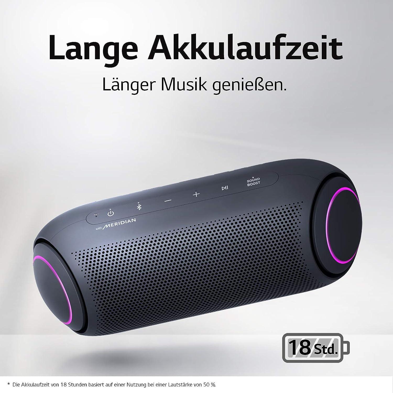 LG XBOOM Go PL5, tragbarer Bluetooth-Lautsprecher (IPX5-Spritzwasserschutz,  18+ h Akkulaufzeit, Beleuchtung), schwarz [Modelljahr 2020] : Amazon.de:  Elektronik & Foto