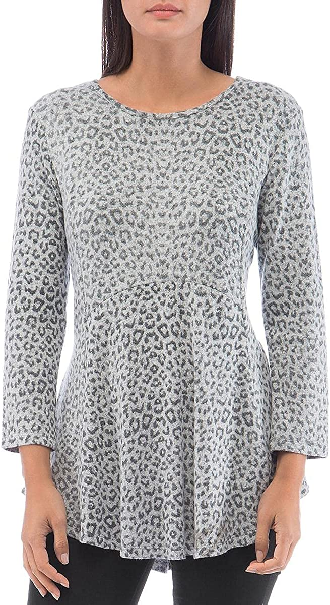 B Collection by Bobeau Womens Animal Print Tunic Pullover Sweater Gray S