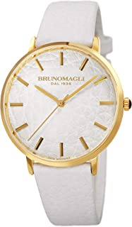 Bruno Magli Women's Roma 1163 Swiss Quartz Unique White Italian Leather Dial Strap Watch