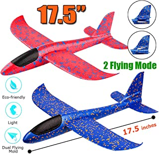 "2 Pack Airplane Toy, 17.5"" Large Throwing Foam Plane, Dual Flight Mode, Aeroplane Gliders, Flying Aircraft, Gifts for Kids, 3 4 5 6 7 Year Old Boy,Outdoor Sport Game Toys, Birthday Party Favors"