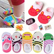 FlyingP 5Pairs Baby Toddler Anti Slip Skid Socks for 6-18 Months Cute Animal Stripes No-Show Crew Boat Socks Baby Socks Footsocks sneakers