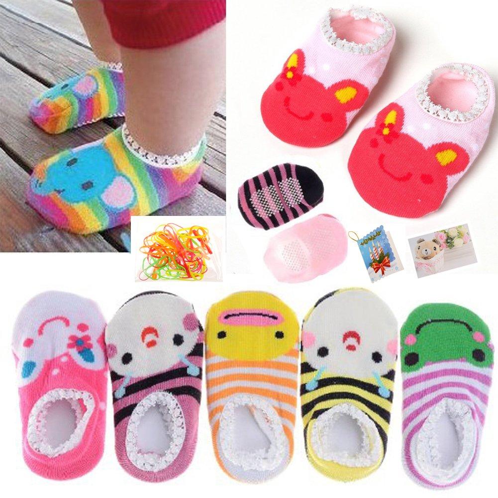 FlyingP 5Pairs Baby Toddler Anti Slip Skid Socks for 6-18 Months Cute Animal Stripes No-Show Crew Boat Socks Baby Socks Footsocks