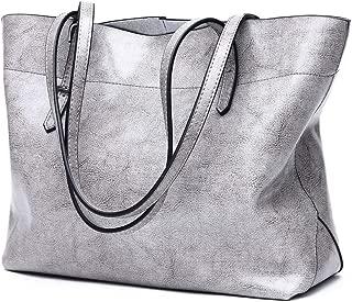 Fashion Simple Multi-Function Large Capacity Shoulder Bag Shoulder Slung Leather Handbag (Color : Gray)