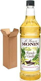 Monin French Vanilla Syrup, 33.8-Ounce Plastic Bottle (1 Liter). Boxed.