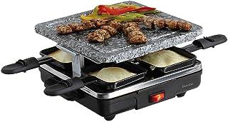 Raclette - Parrilla eléctrica para 4 personas (piedra, 4 sartenes, 600 W, revestimiento antiadherente)