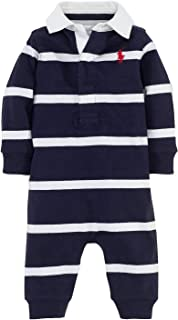 Polo Ralph Lauren Kids Baby Boy's YD Rugby Jersey Stripe Coveralls (Infant) French Navy Multi 12 mos