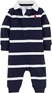 Baby Boys Rugby Stripe Coveralls Navy/White