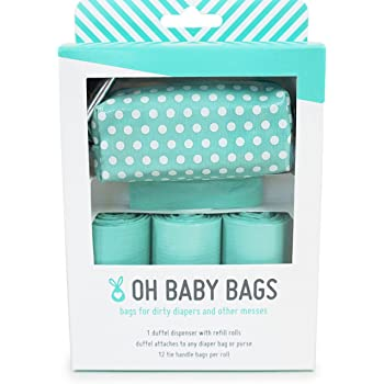 Oh Baby Bags - Diaper Bag Clip-On Dispenser Gift Box with Scented Disposable Bags for Dirty Diapers, Seadot Duffle plus 48 Seafom Scented Bags